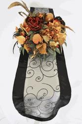 embroidered organza table runner in black