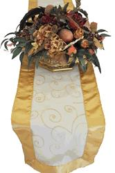 embroidered organza table runner in gold