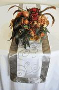 embroidered organza table runner in silver