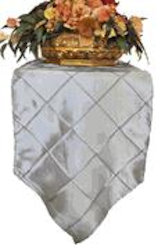 pintuck taffeta table runner in silver