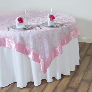 Embroidered Table Overlay pink