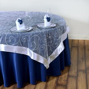 Embroidered Table Overlay navy